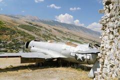 阿尔巴尼亚, Gjirokaster,美国空军航空器Reamins  库存图片