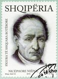阿尔巴尼亚- 2015年:展示Nicephore约瑟夫Niepce 1765-1833,法国发明者,系列国际卓越的个性 免版税库存照片