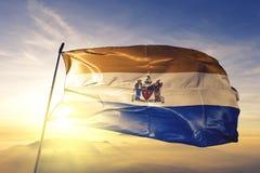 阿尔巴尼美国旗子纺织品挥动在顶面日出薄雾雾的布料织品纽约州的市首都  免版税库存照片