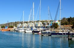 阿尔布费拉,阿尔加威,葡萄牙小游艇船坞  图库摄影