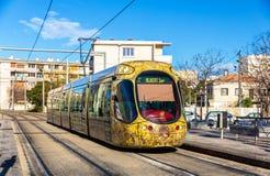 阿尔斯通Citadis 302电车在蒙彼利埃,法国 库存图片