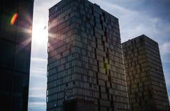 阿尔梅勒,荷兰- 10月18 :现代阿尔梅勒市中心建筑学  荷兰 图库摄影