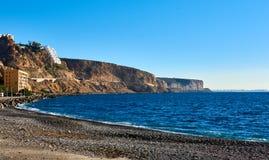 阿尔梅里雅地平线和岩石海岸线 西班牙 免版税库存照片