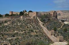 阿尔梅里雅城堡在安达卢西亚 免版税库存图片