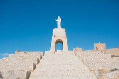 阿尔梅里雅,西班牙- 2016年2月11日:耶稣圣心o的雕象 图库摄影