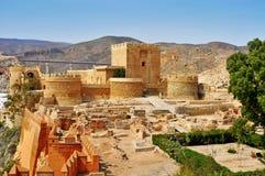 阿尔梅里雅Alcazaba,在阿尔梅里雅,西班牙 库存照片