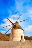 阿尔梅里雅Molino de los Genoveses风车西班牙 免版税图库摄影