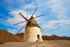 阿尔梅里雅Molino de los Genoveses风车西班牙 库存照片