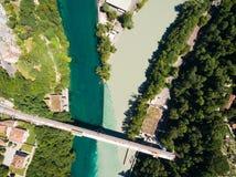 阿尔沃河鸟瞰图隆河汇合在日内瓦Switzerl 库存照片