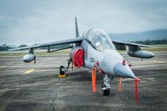 阿尔法喷气式歼击机飞机在机场 库存图片