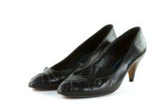 阿尔法黑色鞋子 免版税库存照片