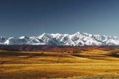 阿尔泰山脉和仓井干草原巨大风景  库存照片
