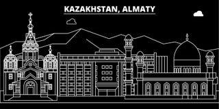 阿尔玛蒂剪影地平线 哈萨克斯坦-阿尔玛蒂传染媒介城市,哈萨克人线性建筑学,大厦 阿尔玛蒂旅行 皇族释放例证