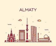 阿尔玛蒂地平线城市哈萨克斯坦传染媒介线性样式 向量例证