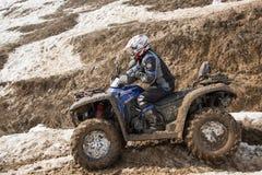 阿尔玛蒂,卡扎克斯坦- 2013年2月21日。 越野赛跑在吉普,汽车竞争, ATV。 传统种族 图库摄影