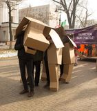 阿尔玛蒂,哈萨克斯坦,纸板狗 免版税库存图片