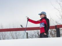 阿尔玛蒂,哈萨克斯坦- 2017年2月18日:在速度滑雪学科的非职业竞争,以名义 图库摄影
