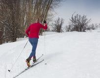 阿尔玛蒂,哈萨克斯坦- 2017年2月18日:在速度滑雪学科的非职业竞争,以名义 免版税库存照片