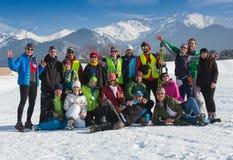 阿尔玛蒂,哈萨克斯坦- 2017年2月18日:在速度滑雪学科的非职业竞争,以名义 库存照片