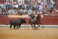 阿尔瓦斯Montes,在马背上斗牛士西班牙巫婆garrocha 库存图片