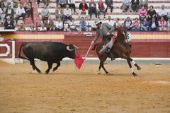 阿尔瓦斯Montes,在马背上斗牛士西班牙语 免版税库存图片