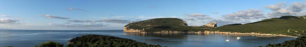 阿尔盖罗& x28; Italy& x29; 品柱卡奇亚海湾 库存照片
