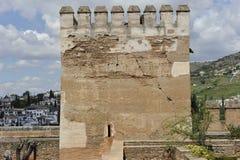 阿尔罕布拉宫复合体的塔,格拉纳达,西班牙 免版税图库摄影