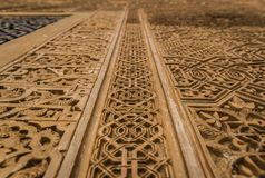 阿尔罕布拉宫宫殿细节在格拉纳达,安大路西亚,西班牙 免版税库存照片