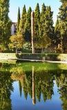 阿尔罕布拉宫庭院El Partal庭院格拉纳达安大路西亚西班牙 库存图片