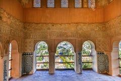 阿尔罕布拉宫摩尔人墙壁设计城市视图格拉纳达安大路西亚西班牙 免版税库存图片