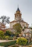 阿尔罕布拉宫,西班牙的圣玛丽教会 库存照片