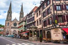 阿尔萨斯中心法国obernai城镇 免版税库存照片