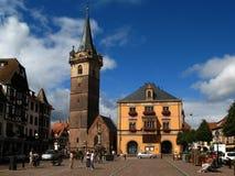 阿尔萨斯中心法国obernai城镇 库存照片