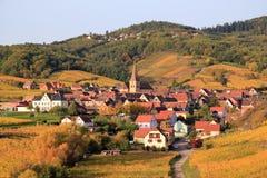 阿尔萨斯村庄在葡萄园里 免版税库存图片