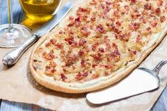 阿尔萨斯tarte flambe 免版税库存照片