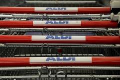 阿尔迪杂货和食物STORE_GERMAN链子市场 库存照片