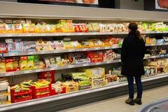 阿尔迪超级市场内部 库存照片