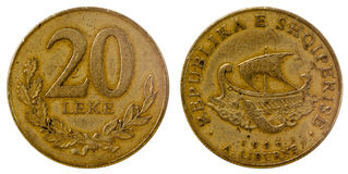 阿尔巴尼亚的老硬币 库存图片