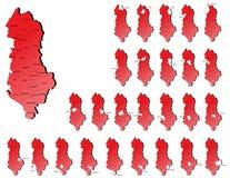 阿尔巴尼亚省地图 免版税库存照片