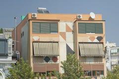 阿尔巴尼亚,地拉纳,被绘的城内住宅 免版税库存图片