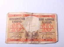 从阿尔巴尼亚, 10个阿尔巴尼亚的货币单位的老钞票 免版税库存照片