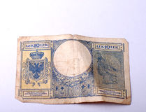 从阿尔巴尼亚, 10个阿尔巴尼亚的货币单位的老钞票 库存图片