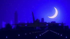 阿尔巴尼纽约美国美国地平线日出着陆月亮蓝色 影视素材