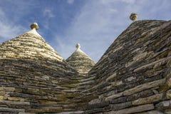 阿尔贝罗贝洛, trulli的屋顶 免版税库存图片
