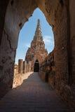 阿尤特拉利夫雷斯古庙墙壁在泰国 库存照片