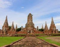 阿尤特拉利夫雷斯寺庙- Wat Chaiwatthanaram 库存照片