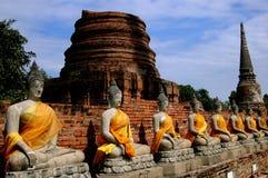 阿尤特拉利夫雷斯,泰国:在Wat亚伊柴Mongkon的Buddhas 免版税库存图片