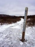 阿巴拉契亚足迹路标,冬天, Grayson高地国家公园,弗吉尼亚 库存图片
