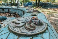 阿布哈兹,老加格拉, 2017年5月02日:Tsereteli ` s马赛克细节在奥登堡公园  图库摄影