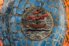 阿布哈兹,老加格拉, 2017年5月02日:Tsereteli ` s马赛克细节在奥登堡公园  免版税库存图片